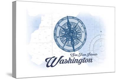 San Juan Islands, Washington - Compass - Blue - Coastal Icon-Lantern Press-Stretched Canvas Print