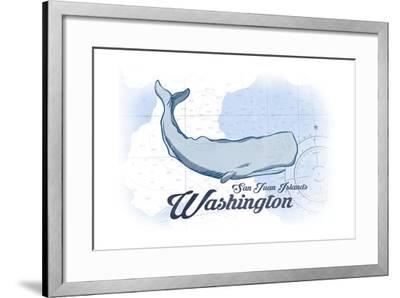 San Juan Islands, Washington - Whale - Blue - Coastal Icon-Lantern Press-Framed Art Print