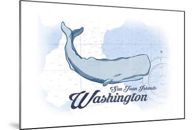 San Juan Islands, Washington - Whale - Blue - Coastal Icon-Lantern Press-Mounted Art Print