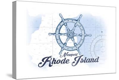 Newport, Rhode Island - Ship Wheel - Blue - Coastal Icon-Lantern Press-Stretched Canvas Print