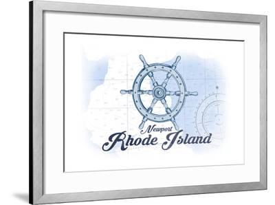 Newport, Rhode Island - Ship Wheel - Blue - Coastal Icon-Lantern Press-Framed Art Print