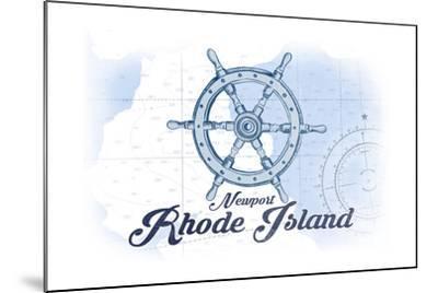 Newport, Rhode Island - Ship Wheel - Blue - Coastal Icon-Lantern Press-Mounted Art Print
