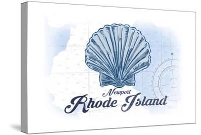 Newport, Rhode Island - Scallop Shell - Blue - Coastal Icon-Lantern Press-Stretched Canvas Print