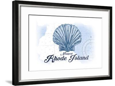 Newport, Rhode Island - Scallop Shell - Blue - Coastal Icon-Lantern Press-Framed Art Print