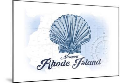 Newport, Rhode Island - Scallop Shell - Blue - Coastal Icon-Lantern Press-Mounted Art Print