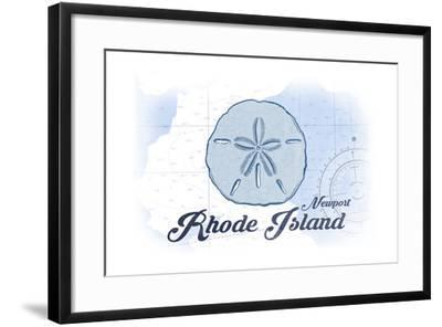 Newport, Rhode Island - Sand Dollar - Blue - Coastal Icon-Lantern Press-Framed Art Print