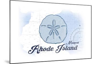 Newport, Rhode Island - Sand Dollar - Blue - Coastal Icon-Lantern Press-Mounted Art Print