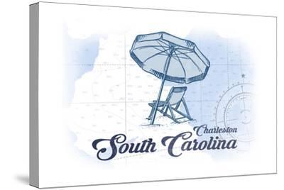 Charleston, South Carolina - Beach Chair and Umbrella - Blue - Coastal Icon-Lantern Press-Stretched Canvas Print
