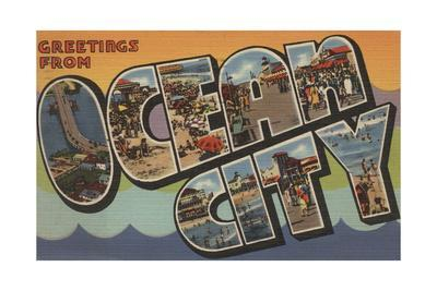 Greetings from Ocean City-Lantern Press-Stretched Canvas Print
