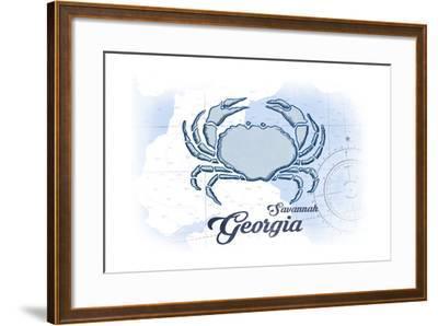 Savannah, Georgia - Crab - Blue - Coastal Icon-Lantern Press-Framed Art Print