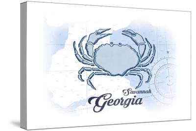 Savannah, Georgia - Crab - Blue - Coastal Icon-Lantern Press-Stretched Canvas Print