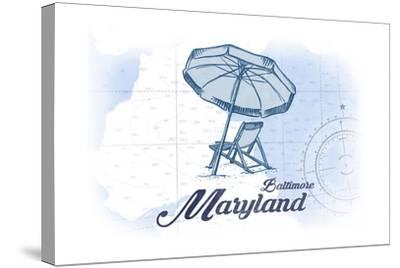 Baltimore, Maryland - Beach Chair and Umbrella - Blue - Coastal Icon-Lantern Press-Stretched Canvas Print