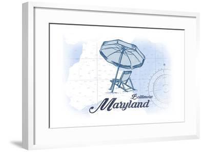 Baltimore, Maryland - Beach Chair and Umbrella - Blue - Coastal Icon-Lantern Press-Framed Art Print