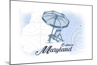 Baltimore, Maryland - Beach Chair and Umbrella - Blue - Coastal Icon-Lantern Press-Mounted Art Print