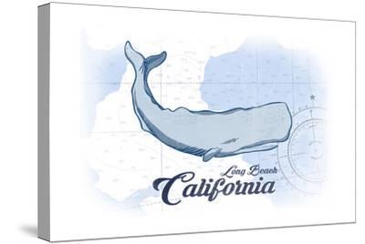 Long Beach, California - Whale - Blue - Coastal Icon-Lantern Press-Stretched Canvas Print