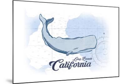Long Beach, California - Whale - Blue - Coastal Icon-Lantern Press-Mounted Art Print