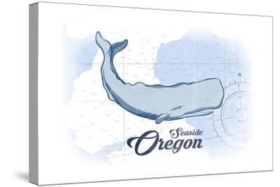 Seaside, Oregon - Whale - Blue - Coastal Icon-Lantern Press-Stretched Canvas Print
