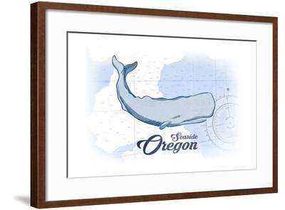 Seaside, Oregon - Whale - Blue - Coastal Icon-Lantern Press-Framed Art Print