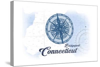 Bridgeport, Connecticut - Compass - Blue - Coastal Icon-Lantern Press-Stretched Canvas Print
