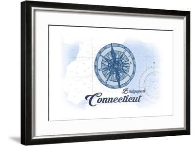 Bridgeport, Connecticut - Compass - Blue - Coastal Icon-Lantern Press-Framed Art Print