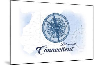 Bridgeport, Connecticut - Compass - Blue - Coastal Icon-Lantern Press-Mounted Art Print