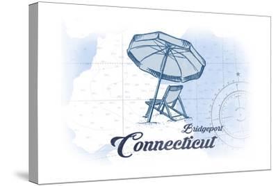 Bridgeport, Connecticut - Beach Chair and Umbrella - Blue - Coastal Icon-Lantern Press-Stretched Canvas Print