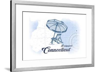 Bridgeport, Connecticut - Beach Chair and Umbrella - Blue - Coastal Icon-Lantern Press-Framed Art Print