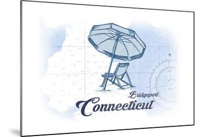Bridgeport, Connecticut - Beach Chair and Umbrella - Blue - Coastal Icon-Lantern Press-Mounted Art Print