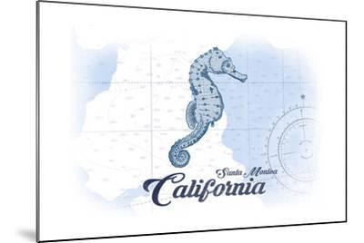Santa Monica, California - Seahorse - Blue - Coastal Icon-Lantern Press-Mounted Art Print
