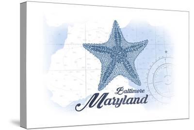 Baltimore, Maryland - Starfish - Blue - Coastal Icon-Lantern Press-Stretched Canvas Print