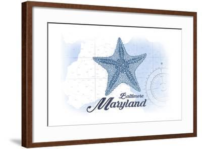 Baltimore, Maryland - Starfish - Blue - Coastal Icon-Lantern Press-Framed Art Print