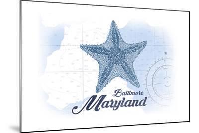 Baltimore, Maryland - Starfish - Blue - Coastal Icon-Lantern Press-Mounted Art Print