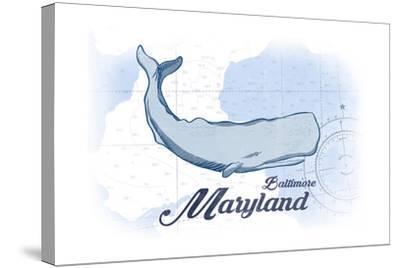 Baltimore, Maryland - Whale - Blue - Coastal Icon-Lantern Press-Stretched Canvas Print