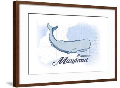 Baltimore, Maryland - Whale - Blue - Coastal Icon-Lantern Press-Framed Art Print