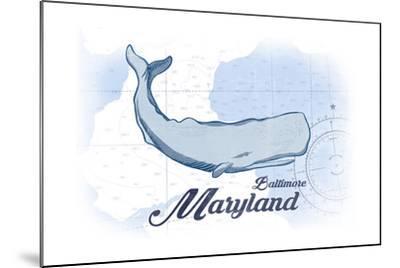 Baltimore, Maryland - Whale - Blue - Coastal Icon-Lantern Press-Mounted Art Print