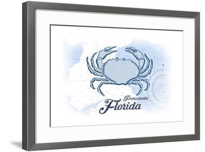 Pensacola, Florida - Crab - Blue - Coastal Icon-Lantern Press-Framed Art Print