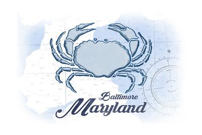 Baltimore, Maryland - Crab - Blue - Coastal Icon-Lantern Press-Framed Art Print
