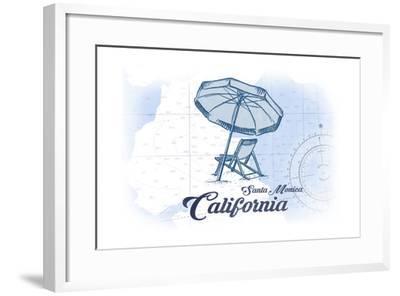 Santa Monica, California - Beach Chair and Umbrella - Blue - Coastal Icon-Lantern Press-Framed Art Print