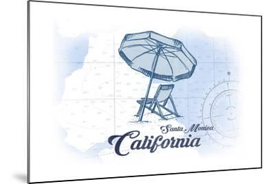 Santa Monica, California - Beach Chair and Umbrella - Blue - Coastal Icon-Lantern Press-Mounted Art Print