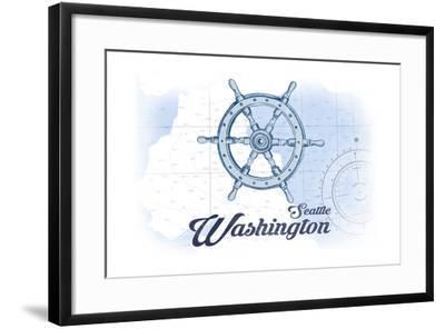 Seattle, Washington - Ship Wheel - Blue - Coastal Icon-Lantern Press-Framed Art Print