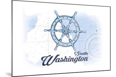 Seattle, Washington - Ship Wheel - Blue - Coastal Icon-Lantern Press-Mounted Art Print