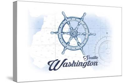 Seattle, Washington - Ship Wheel - Blue - Coastal Icon-Lantern Press-Stretched Canvas Print