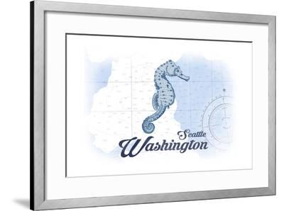 Seattle, Washington - Seahorse - Blue - Coastal Icon-Lantern Press-Framed Art Print