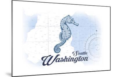 Seattle, Washington - Seahorse - Blue - Coastal Icon-Lantern Press-Mounted Art Print