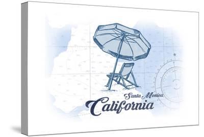 Santa Monica, California - Beach Chair and Umbrella - Blue - Coastal Icon-Lantern Press-Stretched Canvas Print