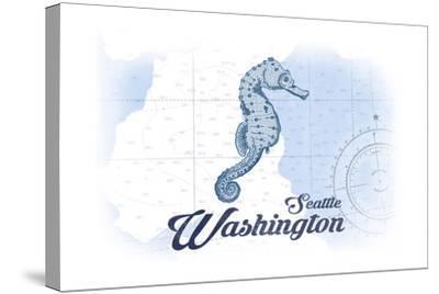 Seattle, Washington - Seahorse - Blue - Coastal Icon-Lantern Press-Stretched Canvas Print