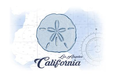 Los Angeles, California - Sand Dollar - Blue - Coastal Icon-Lantern Press-Framed Art Print