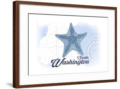 Seattle, Washington - Starfish - Blue - Coastal Icon-Lantern Press-Framed Art Print