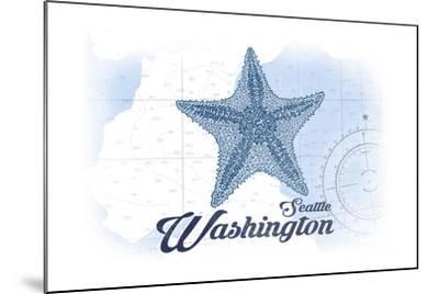 Seattle, Washington - Starfish - Blue - Coastal Icon-Lantern Press-Mounted Art Print