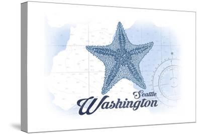 Seattle, Washington - Starfish - Blue - Coastal Icon-Lantern Press-Stretched Canvas Print